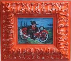 Quadro di Antonio Ligabue - Autoritratto in Moto